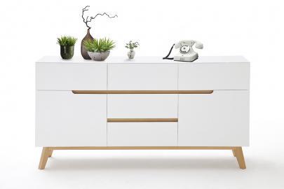 CERVO buffet typ 43– 5 portes and 2 compartiments - blanc haute brillance laqué fini mat – bois de placage de chêne – fabriqué en Europe