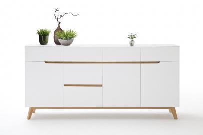 CERVO buffet typ 45– 6 tiroirs - 3 compartiments - blanc haute brillance laqué fini mat – bois de placage de chêne – fabriqué en Europe