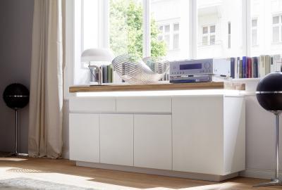 Buffet Romina typ 94– 4 portes – 2 tiroir – chêne du bois pont – vernis mat blanc