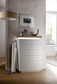 Buffet Romina typ 97-Combo en armoire latérale 6 tiroirs – chêne du bois pont – vernis mat blanc
