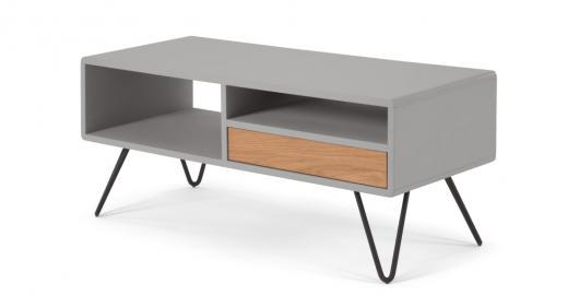 Ukan, meuble TV, gris et chêne