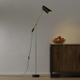 Lampadaire rétro Birdy en noir/laiton