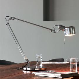 Lampe de bureau en inox Job avec du verre