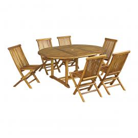 Salon de jardin Baya en teck huilé 6 chaises, petit modèle