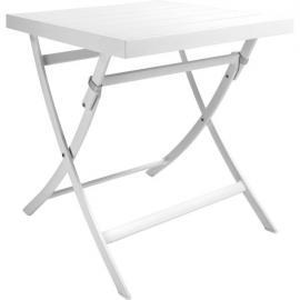 Blanche Table de jardin pliante carrée en aluminium laqué blanc