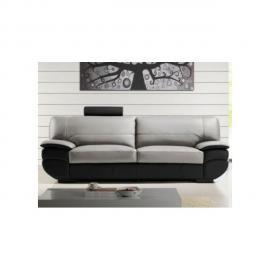 VENTE-UNIQUE Canapé 3 places cuir CALIFORNIA II - Bicolore noir et gris