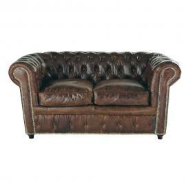 Canapé capitonné 2 places en cuir marron Chesterfield