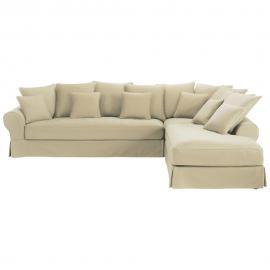 Canapé d'angle droit 6 places en coton mastic Bastide