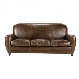 Canapé vintage 3 places en cuir marron Oxford