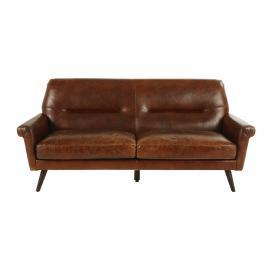 Canapé vintage 3 places en cuir marron Paolo