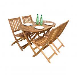 Salon de jardin ovale Fidgi en acacia 4 chaises