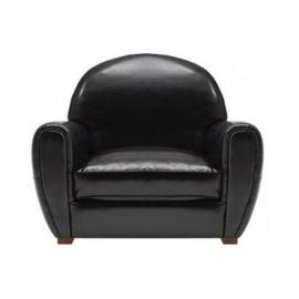 Inside 75 Fauteuil Club noir brillant en cuir recyclé Made In Italy