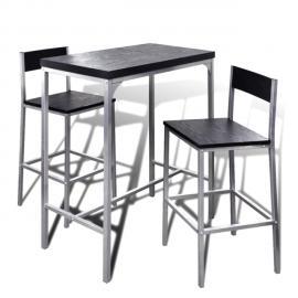 Vidaxl Set de 1 table bar et 2 tabourets noir