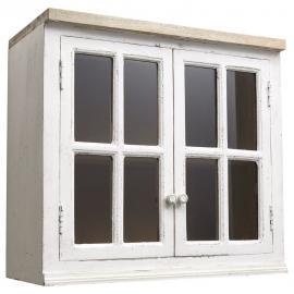 Meuble haut vitré de cuisine en manguier ivoire L 70 cm Eleonore