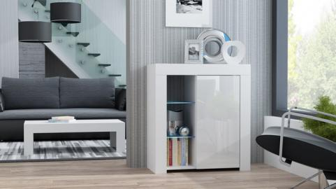 Milano Sideboard 1D - blanc commode laqué blanc