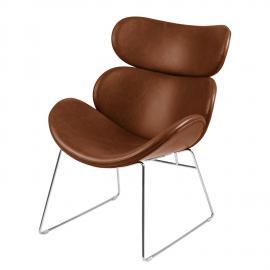Fauteuil Montola I - Imitation cuir - Cognac - Chrome, Studio Copenhagen