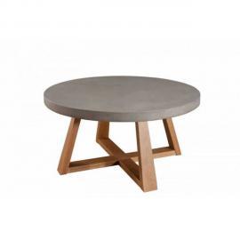 Inside 75 Table basse industrielle ronde 91 cm Nino en chêne
