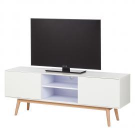 Meuble TV Lindholm - Chêne partiellement massif - Blanc mat / Chêne, Morteens
