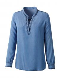 Classic Inspirationen Bluse in Denim-Optik