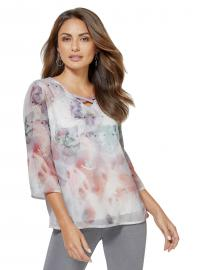 Creation L Bluse in Aquarell-Optik mit Schmetterlingen