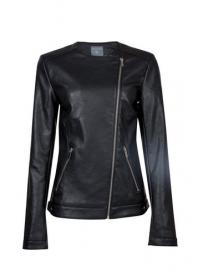 **Tall Black PU Collarless Jacket - Dorothy Perkins