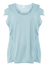 **Juna Rose Curve Pale Blue T-Shirt with Linen - Dorothy Perkins