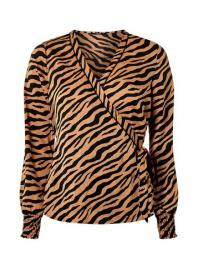 Lohbraune Wickelbluse mit Zebra-Print, Only - Dorothy Perkins