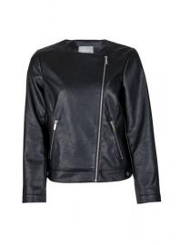 Petite Black Faux Leather Collarless Jacket - Dorothy Perkins