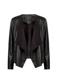Black PU Waterfall Jacket - Dorothy Perkins