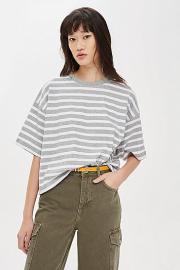Gerade geschnittenes T-Shirt mit Streifen - Grau - Topshop
