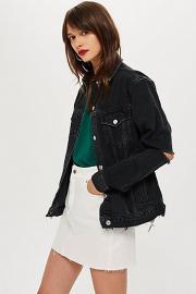 Jeansjacke mit zerrissener Ellbogenpartie - Ausgewaschenes Schwarz - Topshop