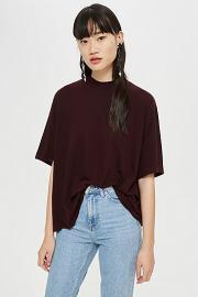 Hochgeschlossenes T-Shirt - Burgund - Topshop