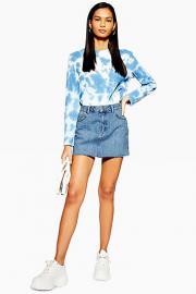 Jeans-Minirock Petite-Größe - Stone Medium - Topshop