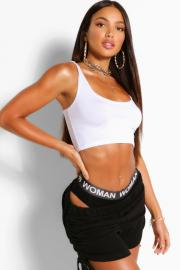 Womens Tall Basic Scoop Neck Crop Top - white - 42, White - Boohoo.com
