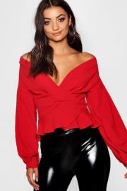 Womens Tall schulterfreie Bluse - rot - 42, Rot - Boohoo.com