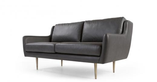 Simone, canapé 2 places, cuir gris de qualité supérieure