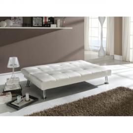 Ma Maison Mes Tendances Canapé convertible 3 places en simili-cuir blanc Barca - L 178 x l 106 x H 37