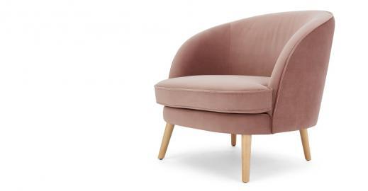 Gertie, fauteuil d'appoint, velours vieux rose