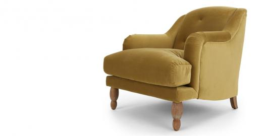 Ariana, fauteuil, velours ocre