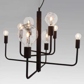 Suspension à 8 lampes Random, noire