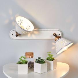 Applique à 2 lampes NONNA en céramique blanche