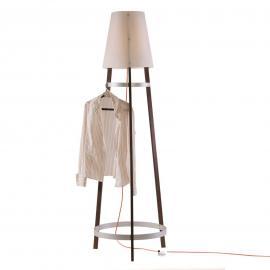 Lampadaire Wai Ting câble rouge et chêne