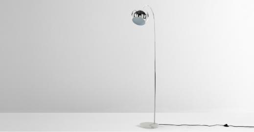 Arceli, lampadaire, chrome et marble blanc
