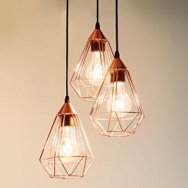 Suspension Tarbes 3 lampes en cuivre brillant