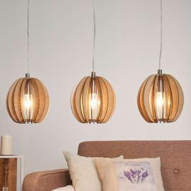 Suspension Cossano 3 lampes, bois
