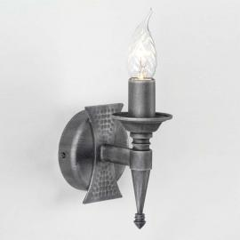 Applique médiévale à 1 lampe SAXON noir argenté