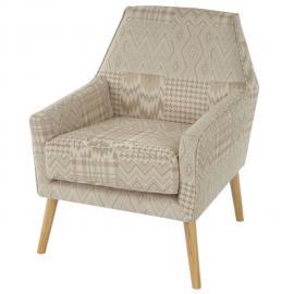 Mendler Fauteuil Malmö T372, fauteuil rembourré de salon, rétro, design des années 50 ~ beige/marron, tissu