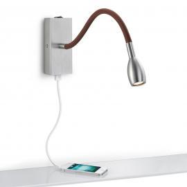 Applique LED Milos gris mat avec tissu brun