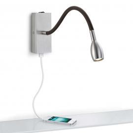 Applique LED Milos nickel avec chargeur USB