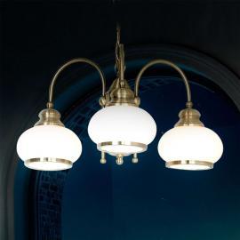 Suspension NOSTALGIKA à 3 lampes en laiton ancien